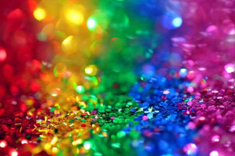 Glitter in rainbow colours
