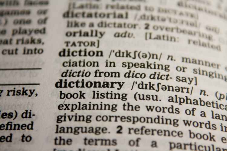 An open dictionary showing the definition of the word dictionary.